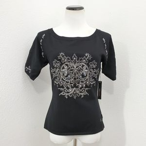 TOP •NEW short sleeve SILK embroidered blouse $230